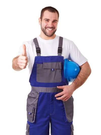 Manual worker makes a gesture thumb up